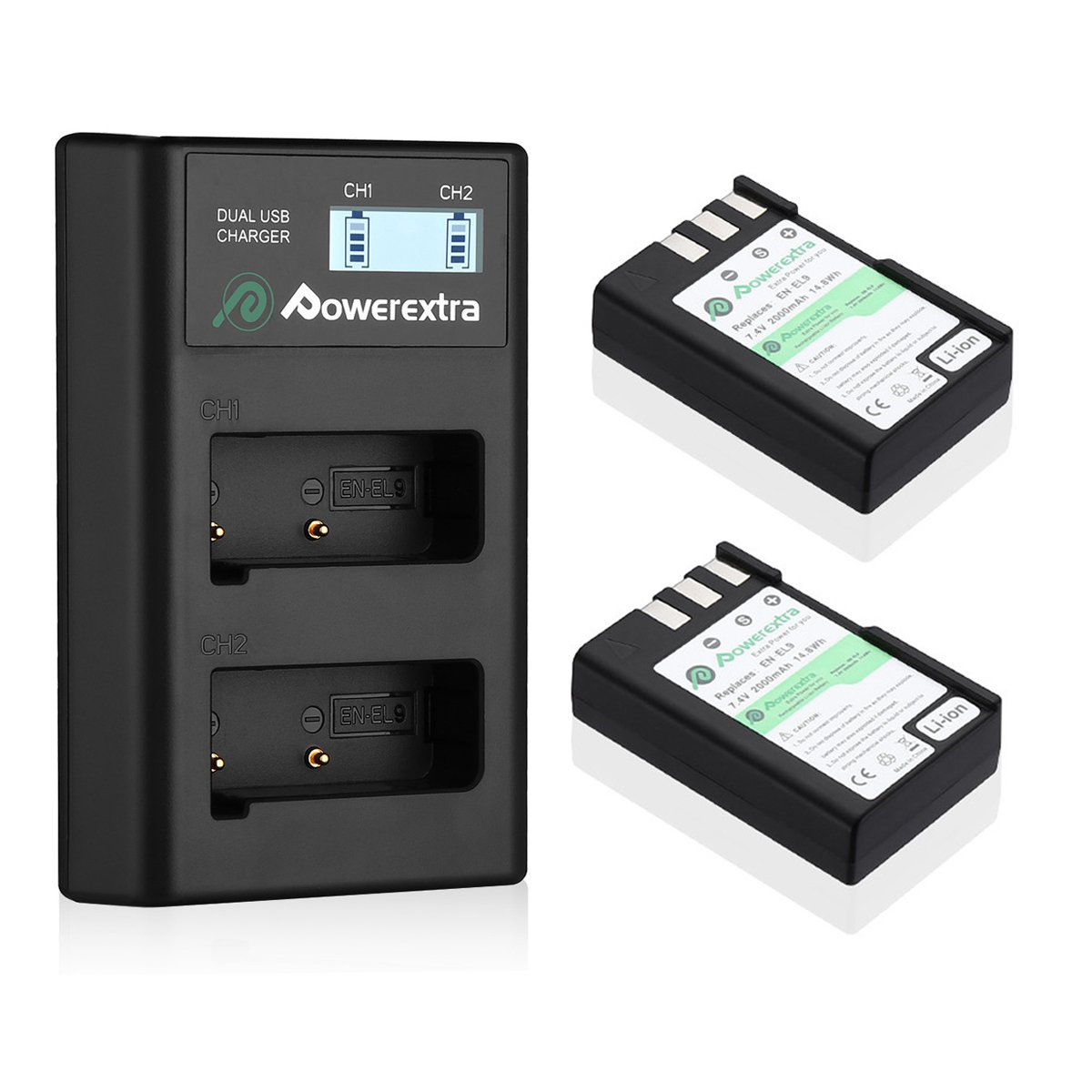 Powerextra 2 Pack EN-EL9 Replacement Battery & Dual LCD Charger Compatible with Nikon D40 D40x D60 D3000 D5000 Cameras