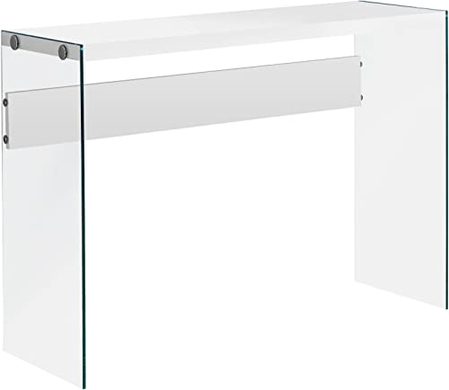 Monarch specialties , Console Sofa Table, Tempered Glass, Glossy White, 44 L