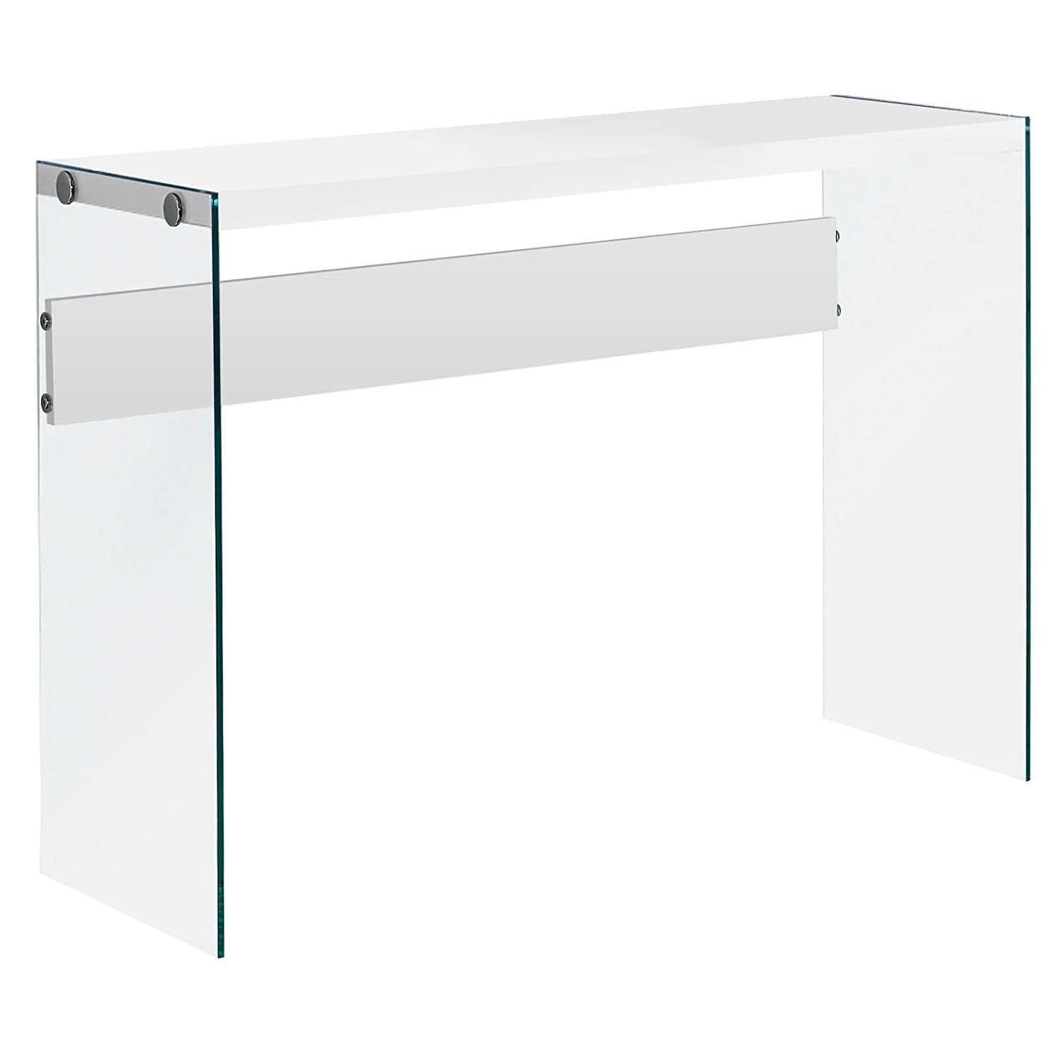 "Monarch specialties I 3288, Console Sofa Table, Tempered Glass, Glossy White, 44""L"