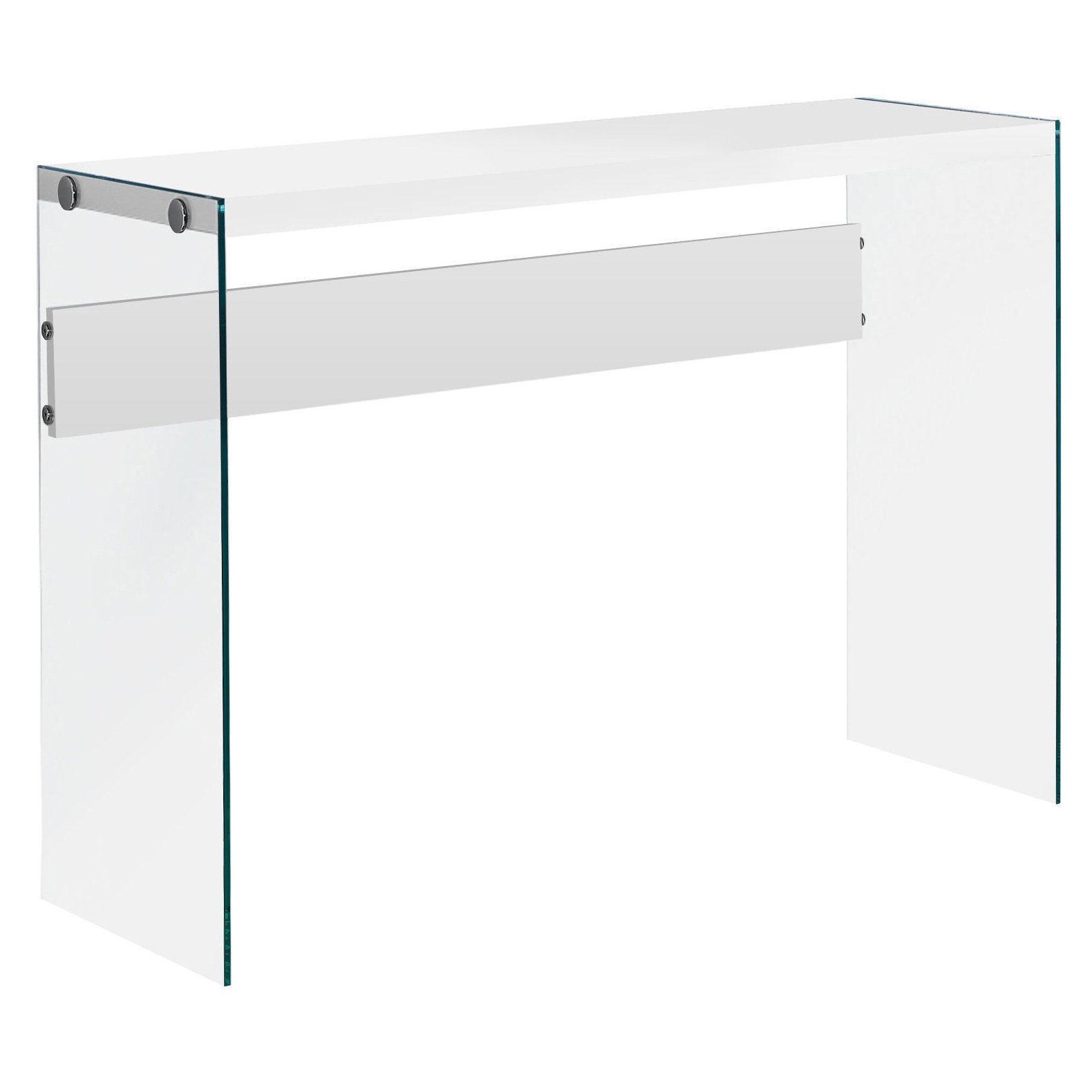 Monarch specialties I 3288, Console Sofa Table, Tempered Glass, Glossy White, 44''L
