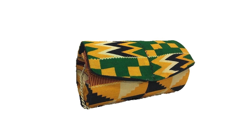 Green & Yellow African Kente Print Hard Body Clutch Purse Plus Chain Strap