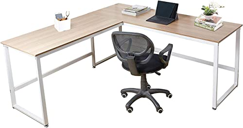 Dporticus 63″ x 35″ L-Shaped Computer Desk Large Corner Desk PC Latop Study Table Workstation Home Office Wood Metal