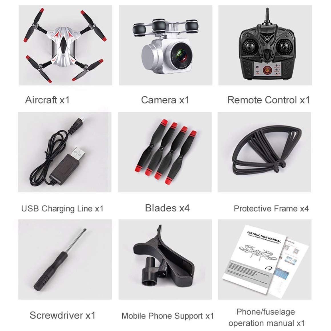 Funnyrunstore S13 Full HD 1080P Telecamera 4 canali 6 Assi a Lunga Durata Telecomando Quadcopter Camera Drone Sistema di Posizionamento Aereo (argentoo)