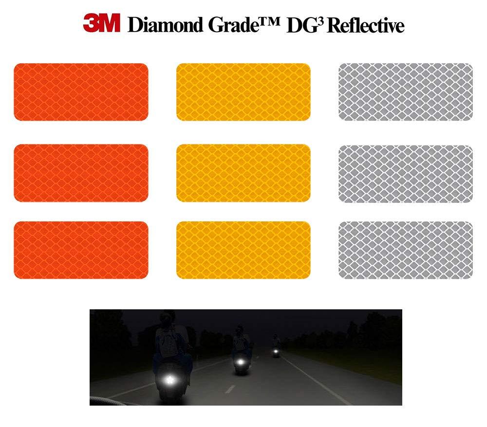 3M 反射ステッカー (ソフトダイヤモンドグレード DG3 高視認性防水ステッカー マルチカラーパック - 12枚 1.18インチ x 2.75インチ (3cm x 7cm) B07QLK5J73