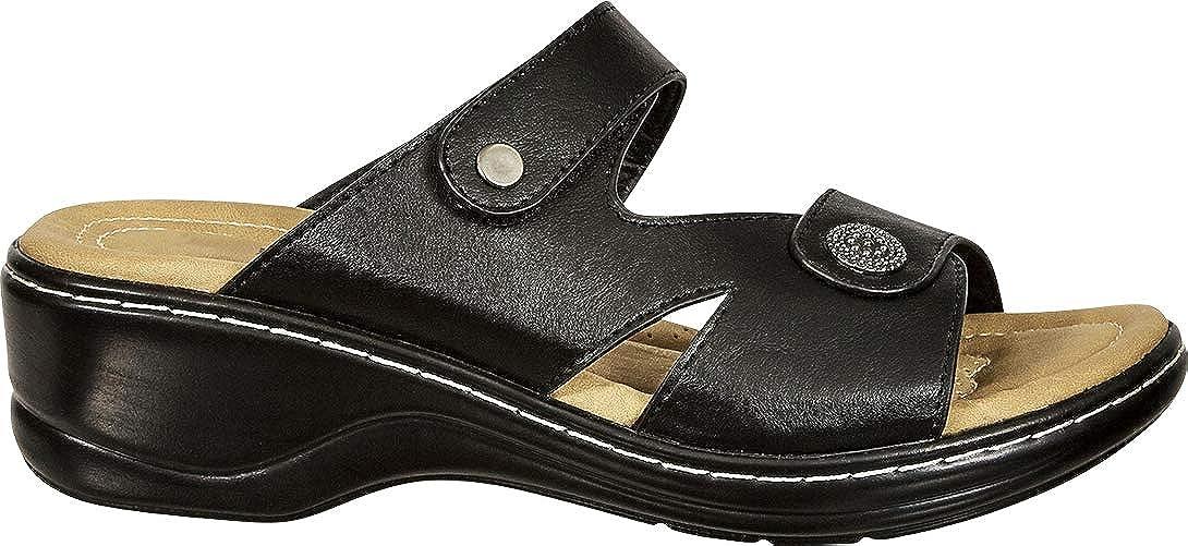 Cambridge Select Womens Open Toe Side Cutout Low Wedge Comfort Slide Sandal