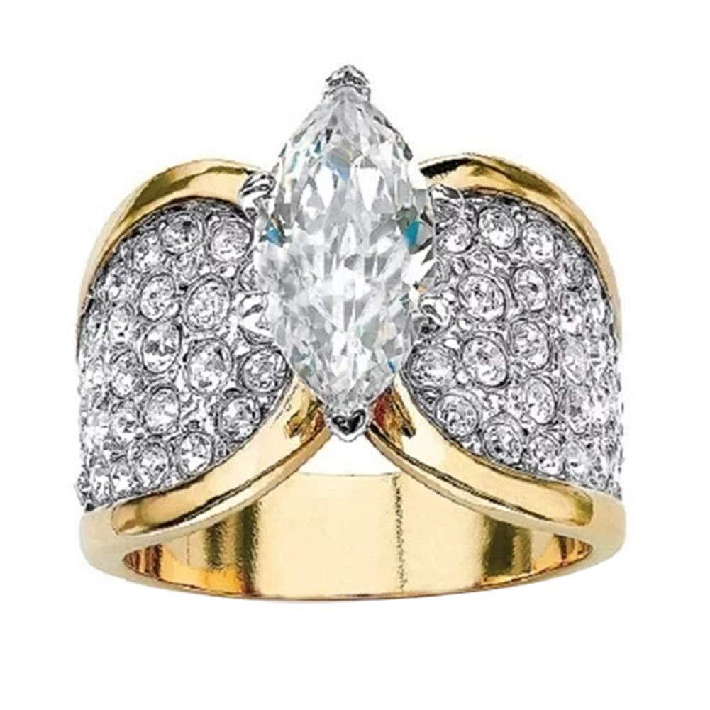 10 Ravewan Shop Fashion Women Shiny Marquise Cut Cubic Zirconia Ring Party Jewelry Gift Utility
