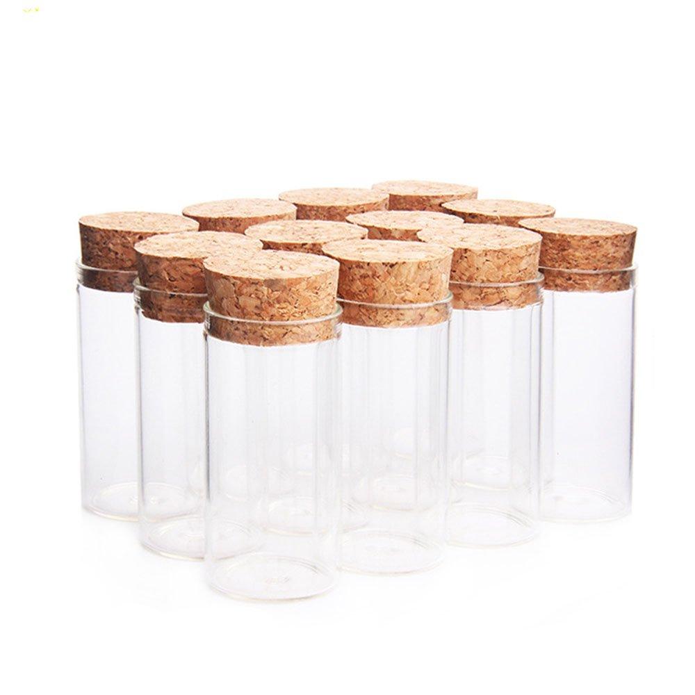 Dealglad - Mini Botellas de Vidrio, Tarros con Tapones de Corcho / Mensajes, Bodas, Deseos, Joyería, Recuerdos de Fiesta., vidrio, Transparente, ...