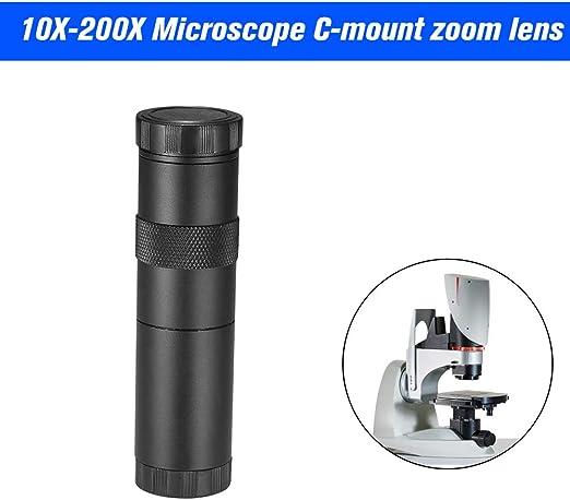 Owsoo C Mount Objektiv 10x 200x Kamera Ccd Industrie Mikroskopkamera C Mount Objektiv 10x 200x Kamera Vergrößerung Einstellbarer Zoom Okular Lupe Baumarkt