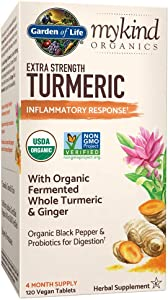 Garden of Life mykind Organics Extra Strength Turmeric Inflammatory Response 120 Tablets-100mg Curcumin (95% Curcuminoids) Black Pepper, Probiotics, Organic Non-GMO Vegan Gluten Free Herbal Supplemen