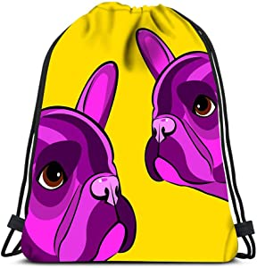 Drawstring Backpack Bulldog Dog Animal French Pet Breed Cute Drawing Puppy Laundry Bag Gym Yoga Bag