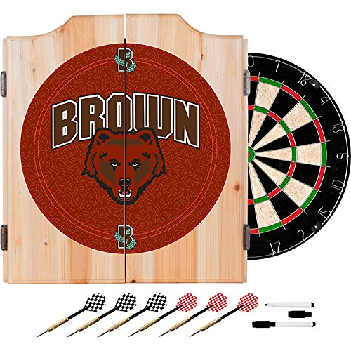 Brown University Deluxe Solid Wood Cabinet Complete Dart Set - Officially Licensed! by TMG
