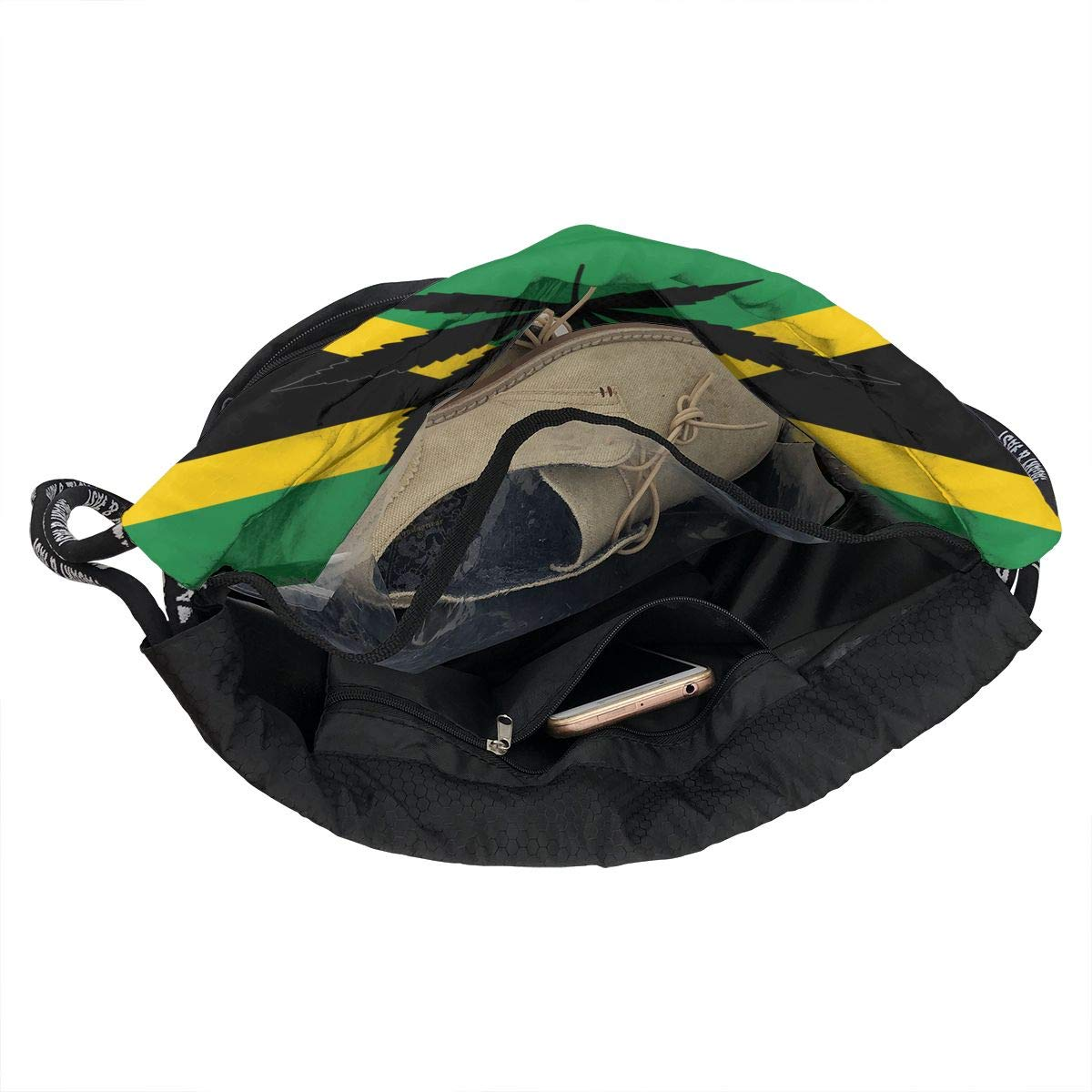 Fashion Outdoor Zipper Drawstring Bag Weed Jamaican Flag Printed Bundle Backpack for Men Women Unisex Multi-Function Backpack