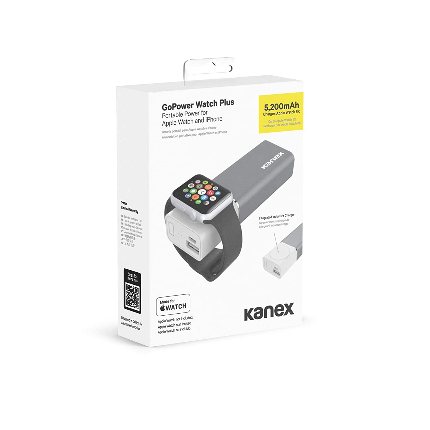 Amazon.com: Kanex GoPower Watch Plus, Portable Battery for Apple Watch and iPhone, 5200mAh: Cell Phones & Accessories