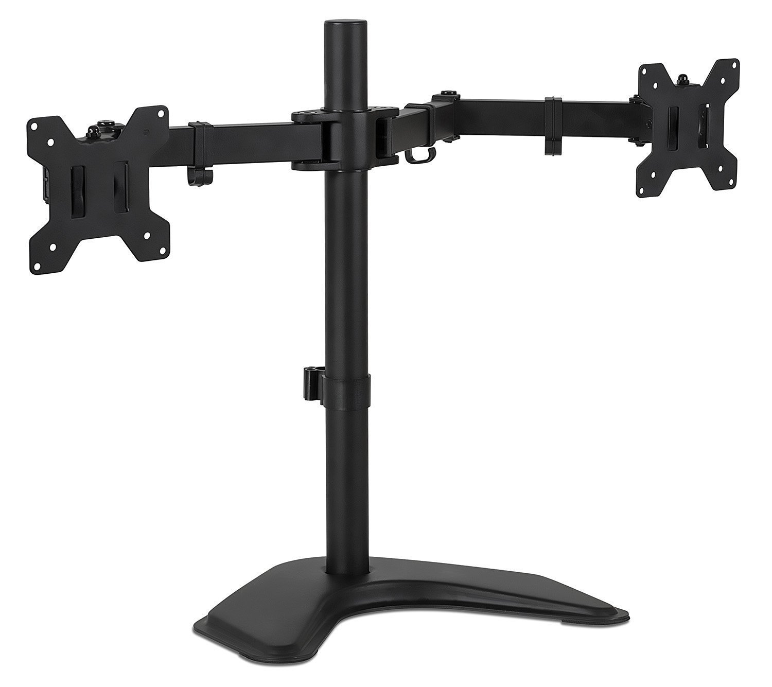 Mount-It! Dual Monitor Desk Stand LCD Mount, Adjustable, Free Standing Two Computer LED Displays Stand 20, 23, 24, 27 Inch Screen Sizes, Black (MI-2781)