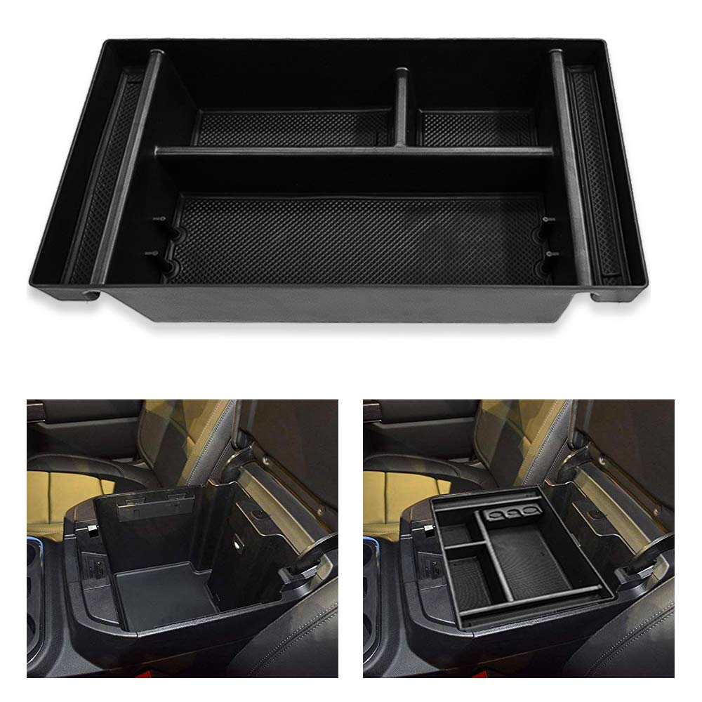 Salusy Center Console Organizer Tray Compatible for 2019 GMC Sierra 1500 //Chevy Silverado 1500-Armrest Storage Box Insert GM Vehicles Accessories
