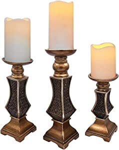 QUABUY Resin Candle Holders (Set of 3) Small 8