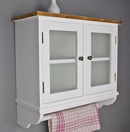 Elbmöbel.de Shabby - Mobile da parete con ripiani e ante in vetro ...