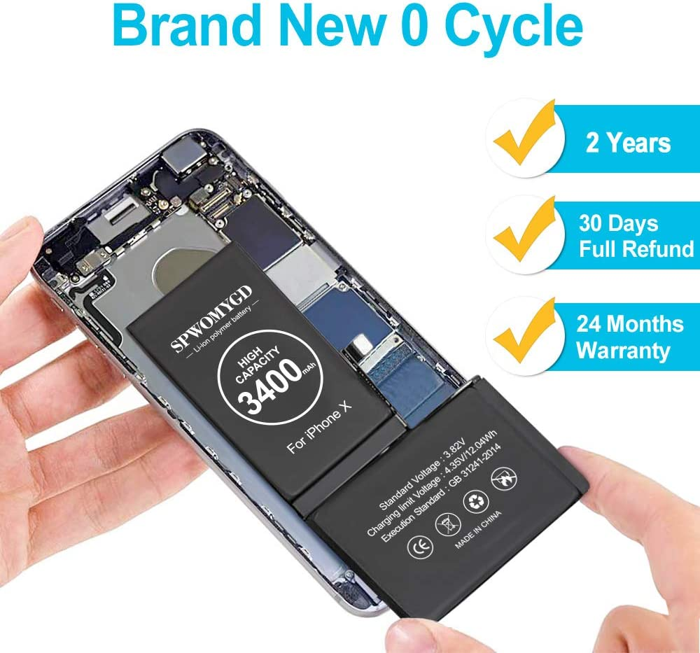 SPWOMYGD Battery Compatible with iPhone X with Professional Repair Tool Kit and Instructions 3400mAh Super High Capacity Replacement Battery New 0 Cycle