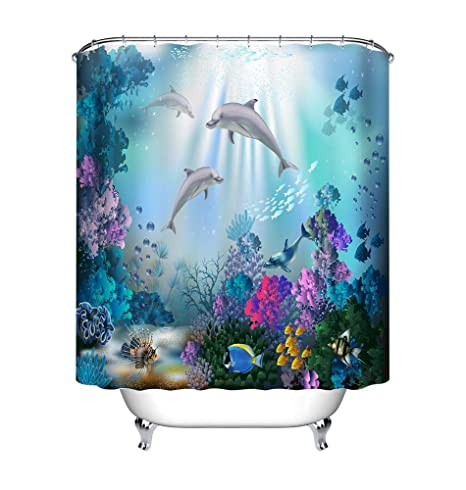 Underwater Colorful Plants Dolphins Fabric Shower Curtain Set Bathroom w// Hooks