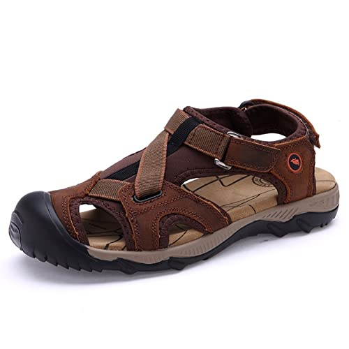251cef5533d6 Suetar Mens Comfortable and Non-Slip Leather Sandals Summer Fashion Closed- Toe Beach Shoes
