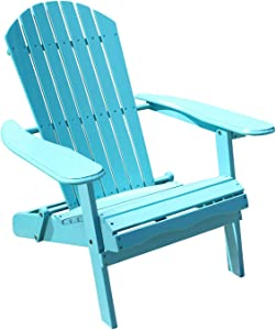 Northbeam Outdoor Lawn Garden Portable Foldable Wooden Adirondack Accent Chair, Deck, Porch, Pool and Patio Seating with 250 Pound Capacity, Teal