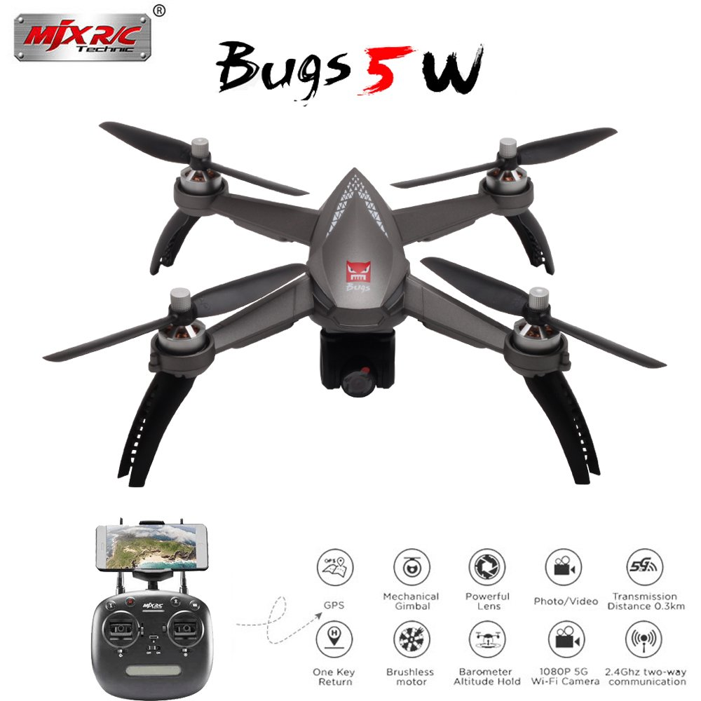 Meiyiu MJX Bugs 5W B5W RC Drone with WiFi FPV 1080P HD Camera GPS Smart Return RC Quadcopter Follow Me Mode Remote Control Aircraft