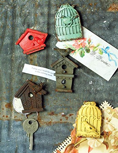 Antique Pewter Cottage Birdhouse Magnets Set of -
