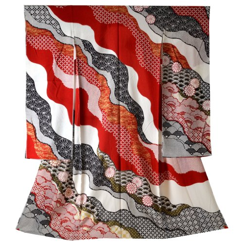 Women's Traditional Japanese Silk Furisode Kimono One Size Red White Flower