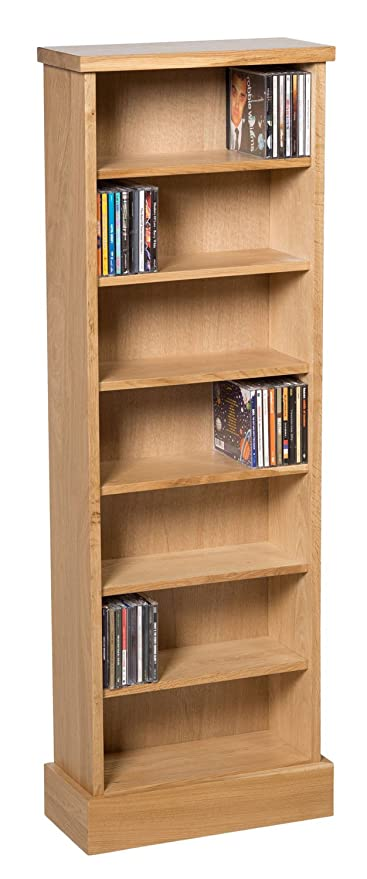 Waverly Oak CD Storage Rack In Light Oak Finish 238 CDs | Shelving Tower  Unit With
