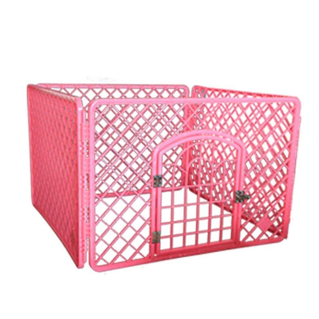 折りたたみ式犬用フェンス中型犬用ケージ犬用ケージ (Color : ピンク) ピンク