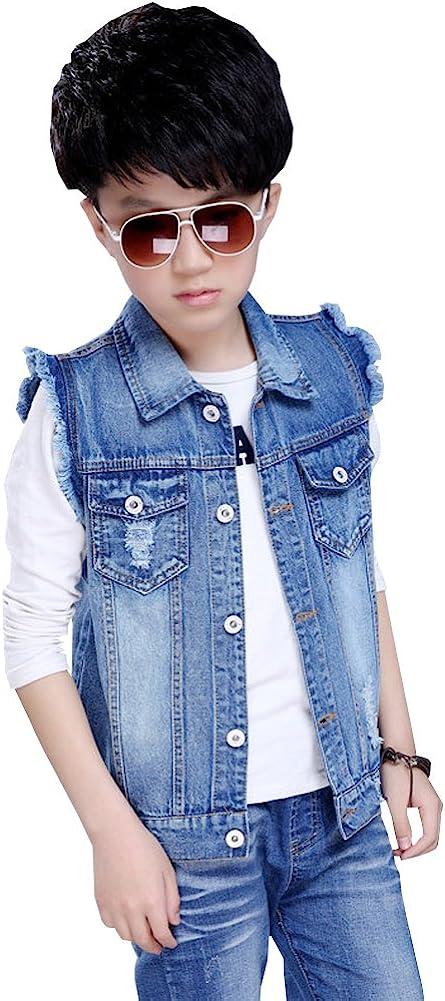 LSERVER /Ärmellos Jeans Weste Kinder Jungen Winterjacke Jeansjacke Slim Outwear