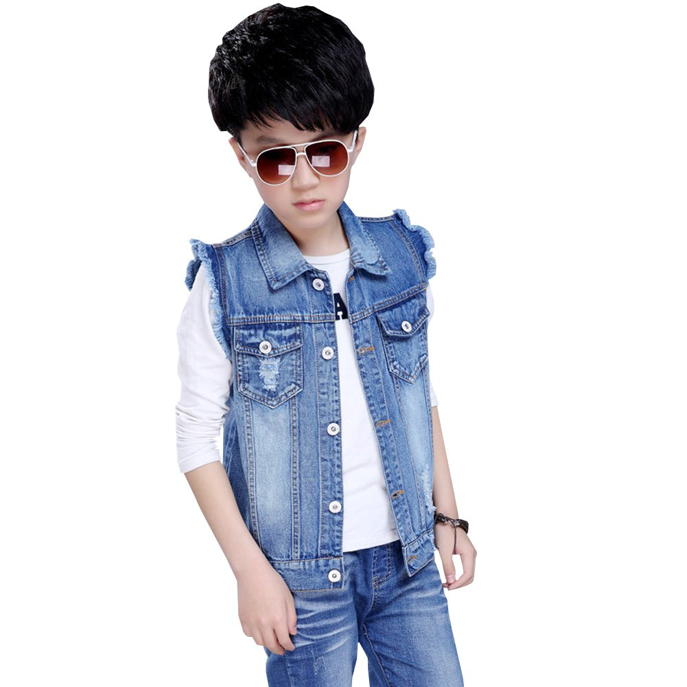 LSERVER Boys Sleeveless Buttoned Denim Vest Giletv Children Jean Top Design Fashion Jacket Kids Casual Broken Hole Vest for Spring and Autumn PARENT1355