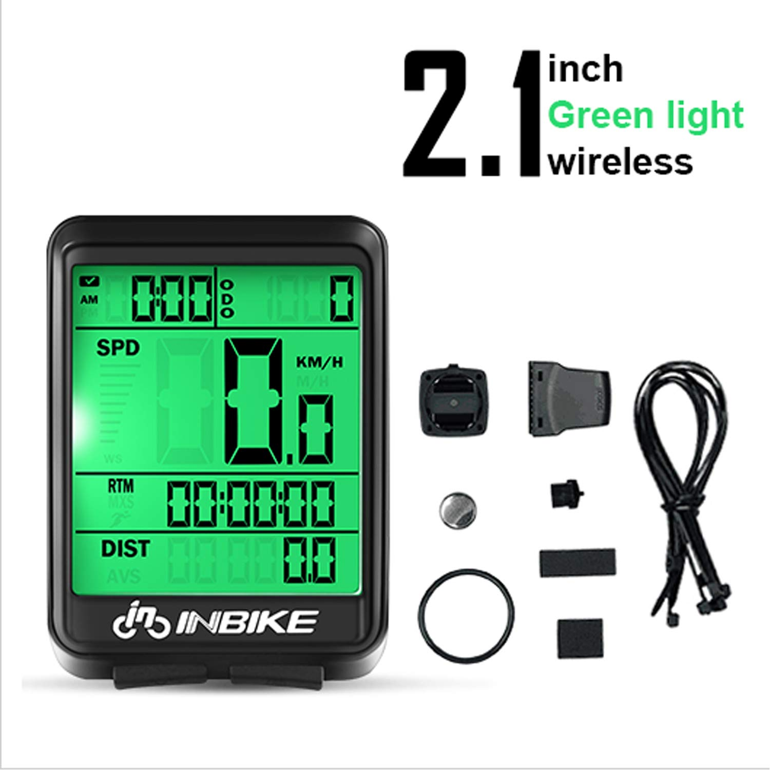 Cycling Computers Odometer Bike Speedometer Waterproof Wireless Stopwatch/Trip Time/Distance Recording with LED Backlight for Cycling(Wireless, Green) by BNHT