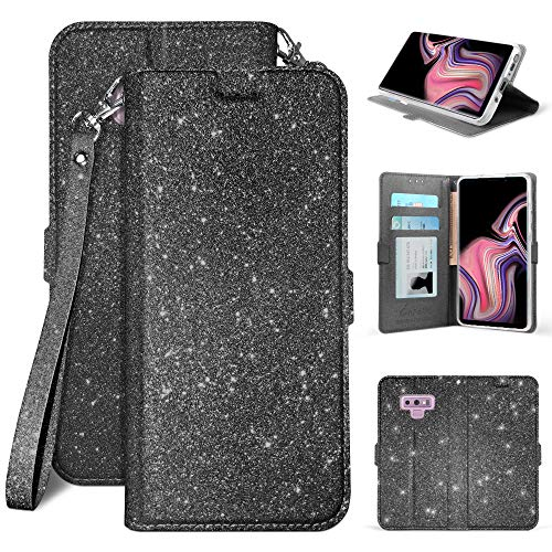 Galaxy Note 9 Case, Infolio Glitter Wallet Cover with Wrist Strap Invisible Magnetic Closure - Black from Beyond Cell