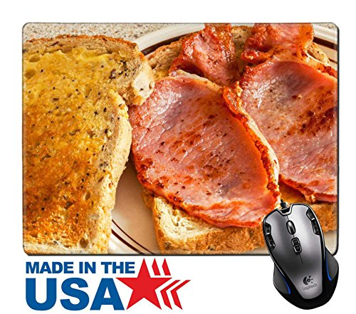 "MSD Natural Rubber Mouse Pad/Mat with Stitched Edges 9.8"" x 7.9"" Bacon toasted sandwich Image ID 25017984"