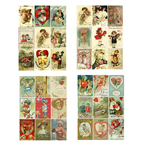 Bundle of 4 Valentine's Day Card Images Collage Sheets, Set of 4, Set #1 for Altered Art, Scrapbooking, Design, Card ()