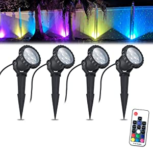 COVOART Color Changing LED Landscape Lights Landscape Lighting Waterproof LED Garden Pathway Lights Walls Trees Outdoor Spotlights with Spike Stand, Outdoor Landscaping Lights, 4 Pack