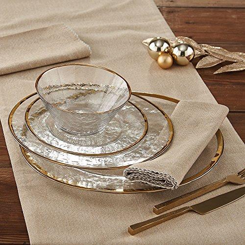 Gold Metallic Rim Glass Dinner plate - set of 4 ()