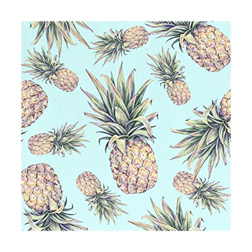 Tropical Fruit Light Blue Pineapple Placemats Table Place Mat Kitchen Dining Room Polyester 12 x 12 inches Set of 4