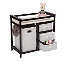 Baby Changing Table with Drawers and Laundry Hamper Storage Organizer, Espresso - Included Changing Table Pad