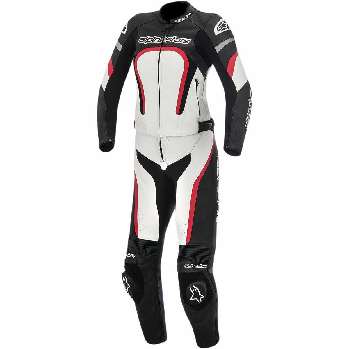 Alpinestars Motegi Women's 2-Piece Street Motorcycle Race Suits - Black/White/Red / 42