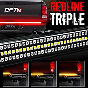 "OPT7 60"" Redline TRIPLE LED Tailgate Light Bar w/Sequential Amber Turn Signal - 1,200 LED Solid Beam - Weatherproof No Drill Install - Full Function Reverse Brake Running 2yr Warranty"