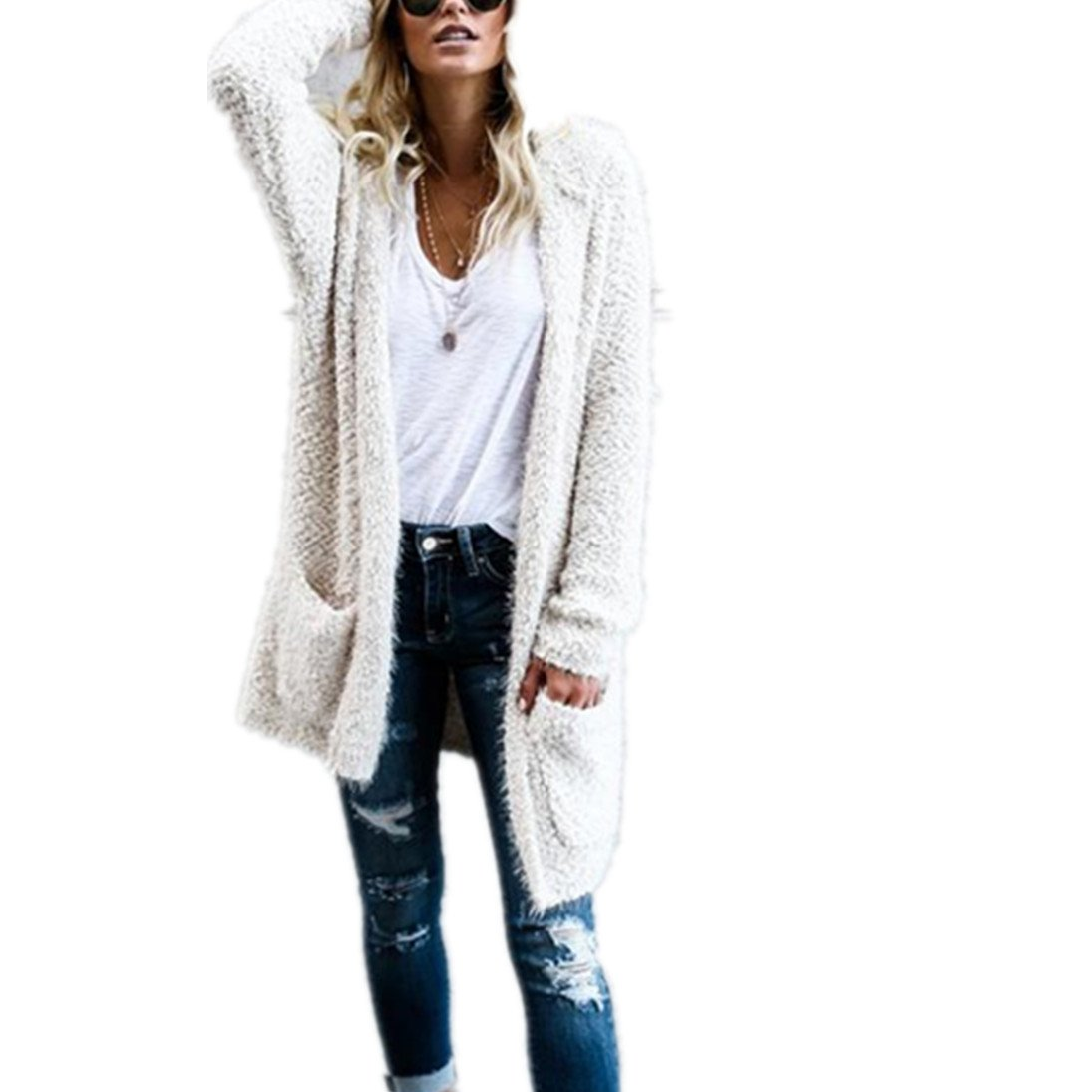 Gallity Women Sweaters Hoodie Knit Long Sleeve Lambswool Cardigan Outerwear with Pocket Warm (White, L)