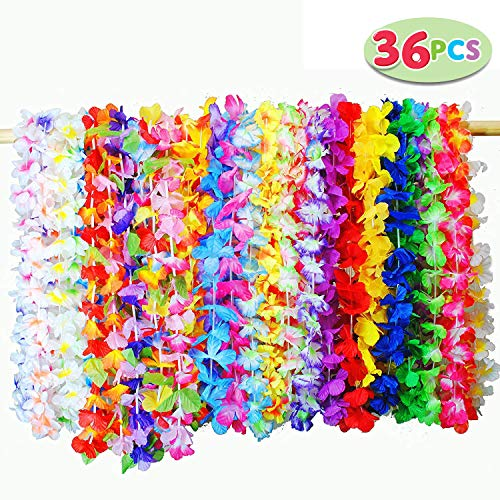 Joyin Toy 36 Counts Tropical Hawaiian Luau Flower Lei Party Favors (3 Dozen)]()
