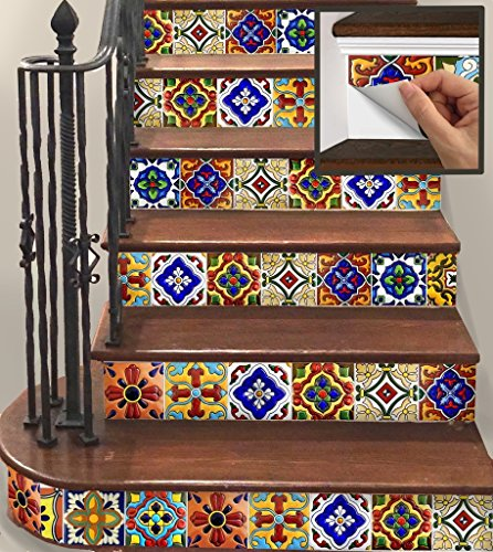 SnazzyDecal 15 Steps Removable Vinyl Stickers Strips for Stair Risers TR001-S-6 by SnazzyDecal