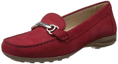 Geox Donna Euro A, Mocasines para Mujer, Rojo-Rot (Cherry C7001)