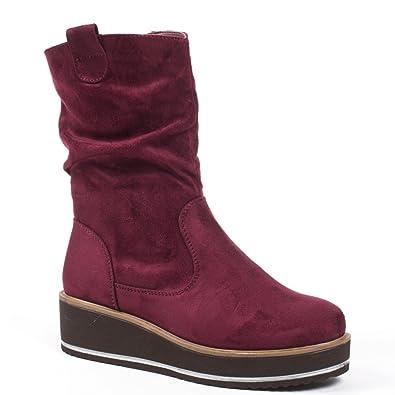 Ideal Shoes–Botines de plataforma efecto ...