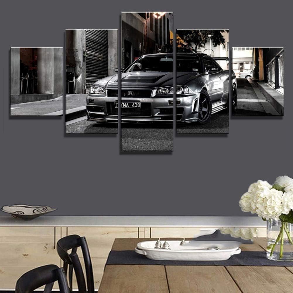 CXDM Decoraciones para El Hogar Decoraci/ón De Pared 5 Piezas Impresi/ón HD Genial Nissan Skyline GTR Car Cuadros Decorativos Modernos sobre Lienzo Arte De Pared