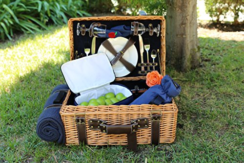 Picnic Pack English Style for 2 Persons Corduroy Willow Basket, Blue, One Size by Picnic Pack