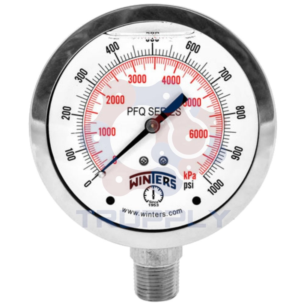 Winters PFQ Series Stainless Steel 304 Single Scale Liquid Filled Pressure Gauge with Brass Internals, 0-100 psi, 2-1/2'' Dial Display, +/-1.5% Accuracy, 1/4'' NPT Bottom Mount